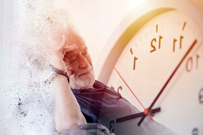 An older man with a clock graphic behind him