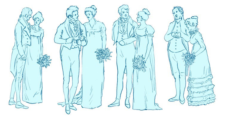 19th century Pride and Prejudice happy couples illustration
