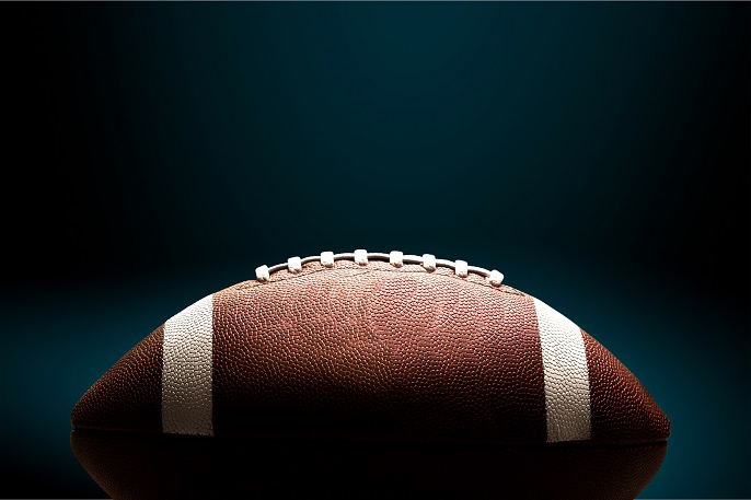 Football on a black background