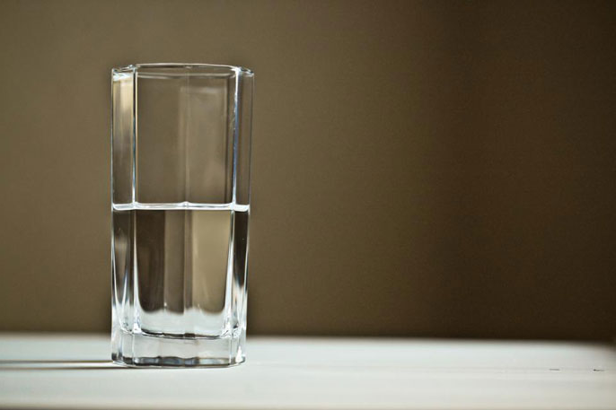 Glass half filled with water