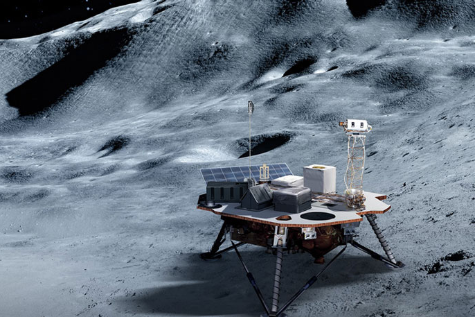 Moonlander on the moon