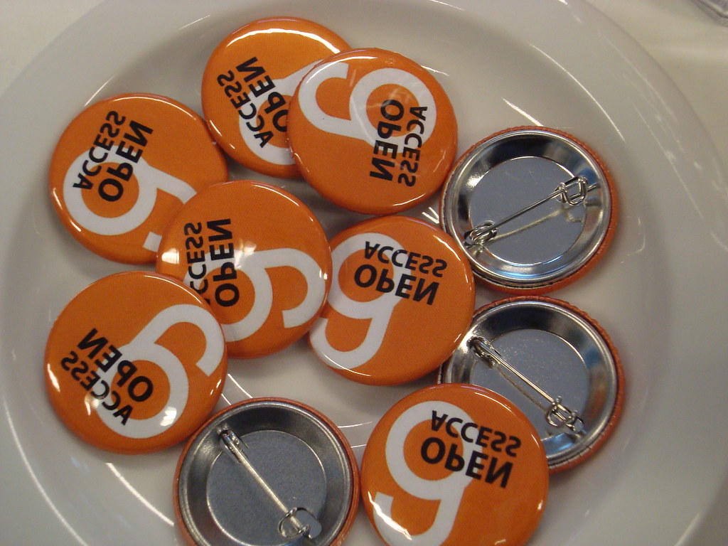 Bowl of 'open access' buttons