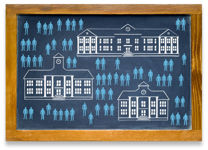 Many student figures matched with schools diagram illustration
