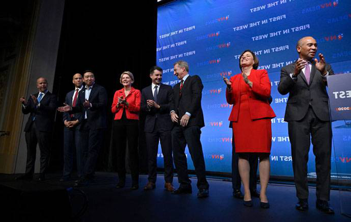 Candidates on a debate stage