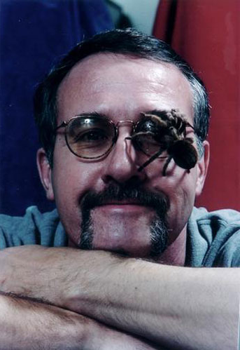 Spider expert Rick Vetter — with a spider on him